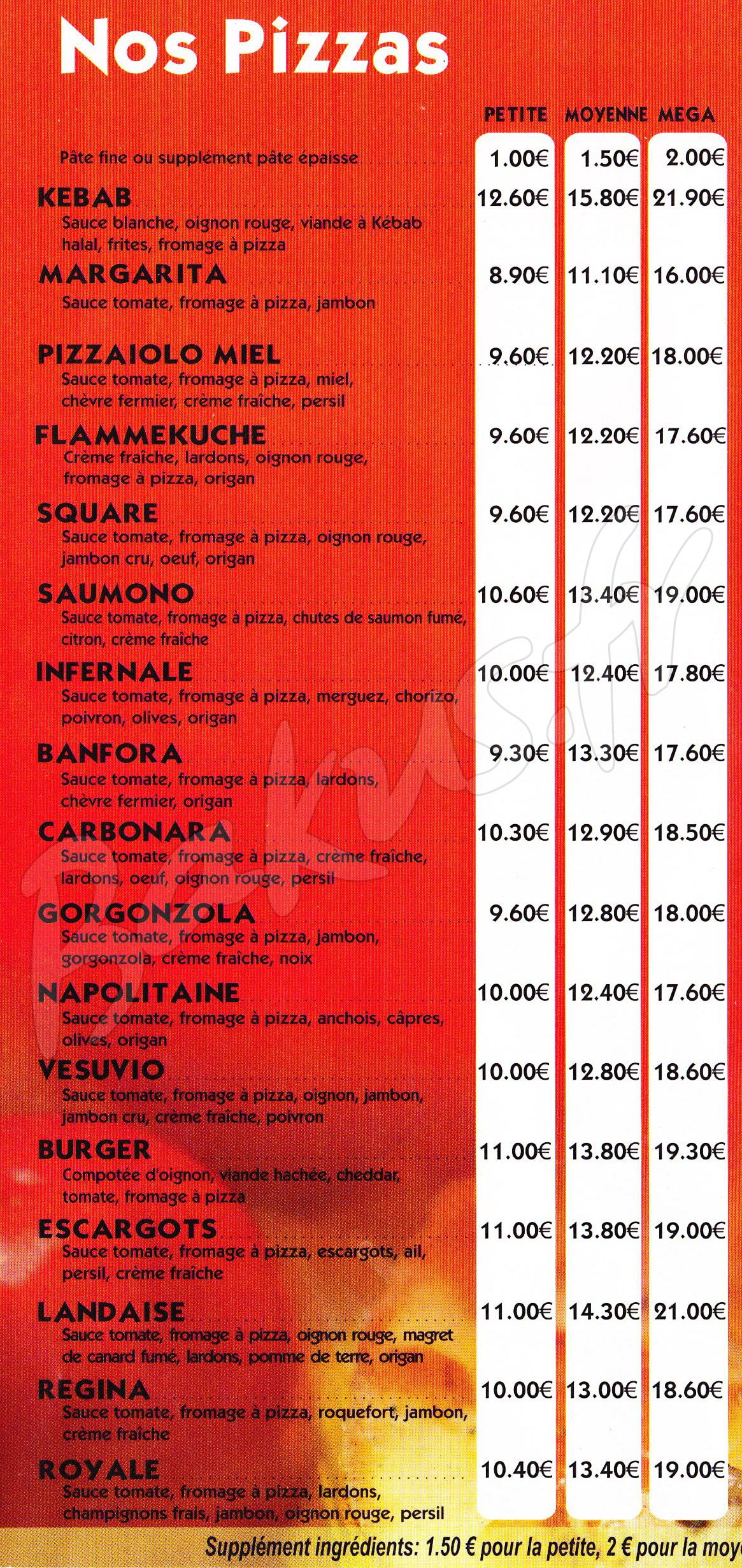 Pizza Du Square Chauvigny 86300 Menu Prix Pizza Du Square Bakus Fr